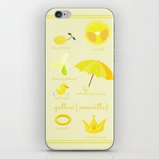 Colors: yellow (Los colores: amarillo) iPhone & iPod Skin