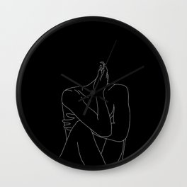 Nude figure illustration - Celina Black Wall Clock