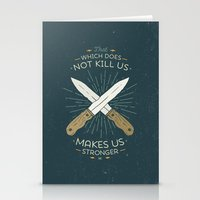 nietzsche Stationery Cards featuring That which does not kill us makes us stronger by Beardy Graphics