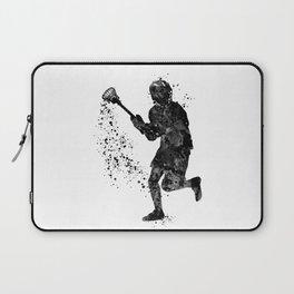 Boy Lacrosse Black Watercolor Sports Art Laptop Sleeve
