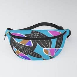 4 colors Organic objects on Blue - White Lines Fanny Pack