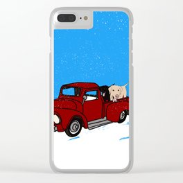 Best Labrador Buddies In Old Red Truck Clear iPhone Case