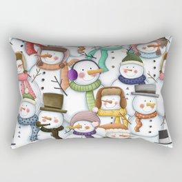Happy Snowmen Pattern Rectangular Pillow