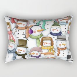 Happy Snowmen Pattern Rectangular Pillow