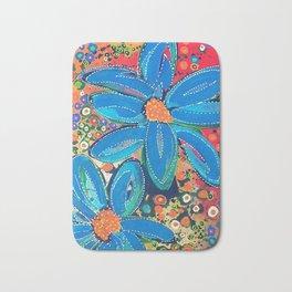 Flower Power Vibrant Blue Daisies Bath Mat