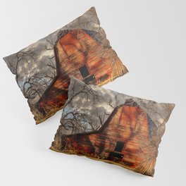 Red Barn - Rustic Barn in Shadows on Fall Day in Oklahoma Pillow Sham