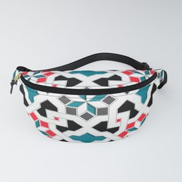 Oriental Pattern - Geometric Design, red / blue / grey Fanny Pack