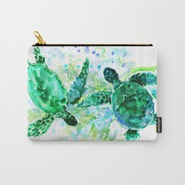 Sea Turtles Underwater Scene Turquoise Blue design, bright blue green design Carry-All Pouch