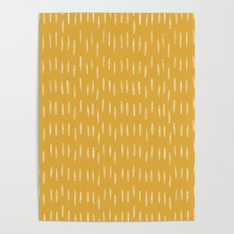 Raindrop Abstract Boho Pattern, Yellow Poster