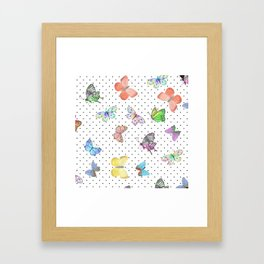 Colorful pink teal watercolor hand painted butterfly polka dots Framed Art Print