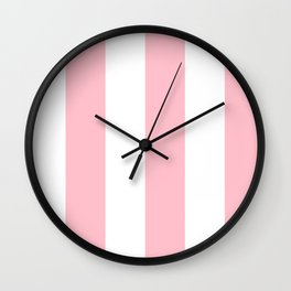 Wide Vertical Stripes - White and Pink Wall Clock