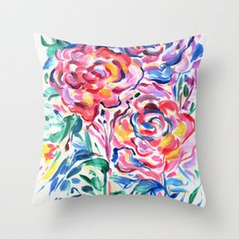 Abstract Roses 1 Throw Pillow
