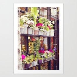 Outdoor Paris Flower Market Art Print