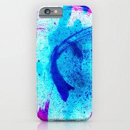 Vivid Shocking Aqua Blues Abstract Splatter Painting iPhone Case