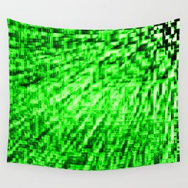 Green Pixel Wind Wall Tapestry