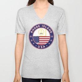 Rhode Island, USA States, Rhode Island t-shirt, Rhode Island sticker, circle Unisex V-Neck