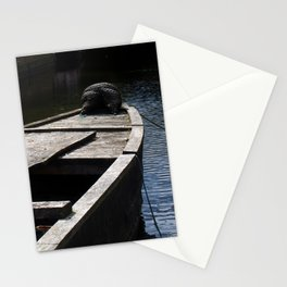 dark boat at twilight Stationery Cards