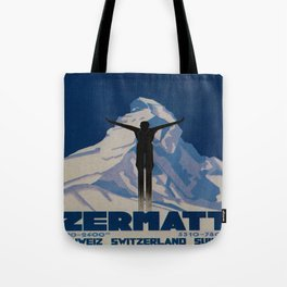 Vintage Zermatt Switzerland Travel Tote Bag