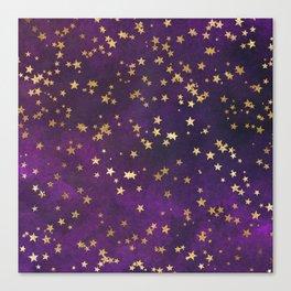 Dark Purple Gold Stars Canvas Print