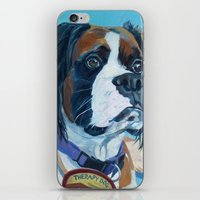 nori iPhone & iPod Skins featuring Nori the Therapy Boxer by Barking Dog Creations Studio