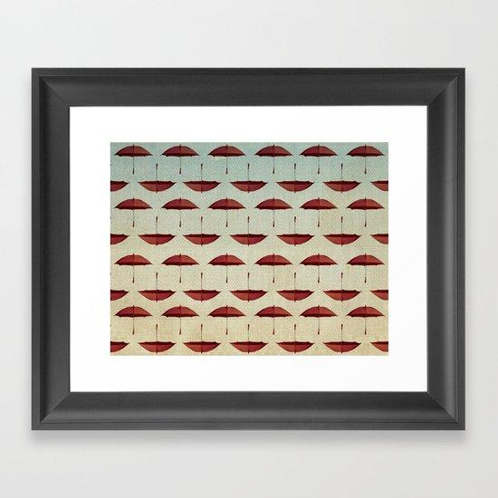 raining umbrellas pattern Framed Art Print