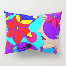 Pinwheels and Shapes Abstract Lady Pillow Sham