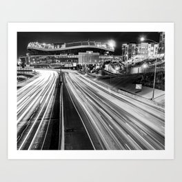 Mile High Football - Denver Stadium and City Architecture in Black and White Art Print