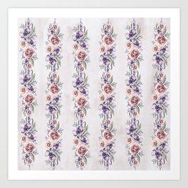 Trailing Roses and Hollyhocks Art Print