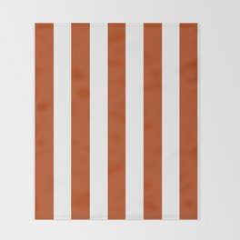 Rust brown - solid color - white vertical lines pattern Throw Blanket