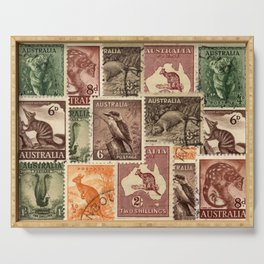 Vintage Australian Postage Stamps Collection Serving Tray
