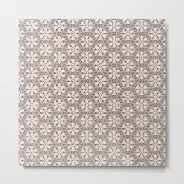 Red White Brown Geometric - Peppermint Wheels Metal Print