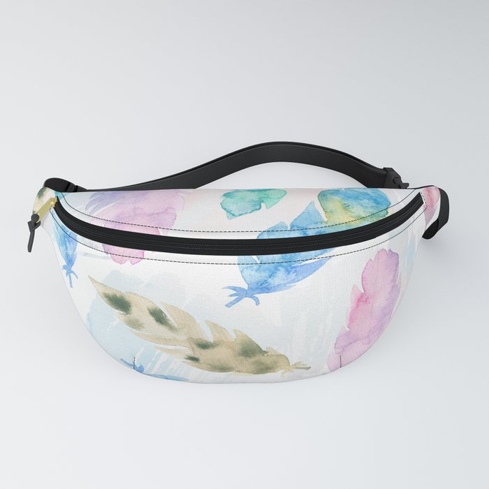 Pastel watercolors feathers pattern Fanny Pack