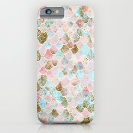 Wonky Watercolor Sea Foam Glitter Mermaid Scales iPhone Case