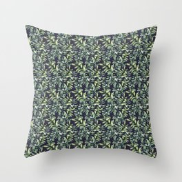 Snowberry on navy. Watercolor Throw Pillow