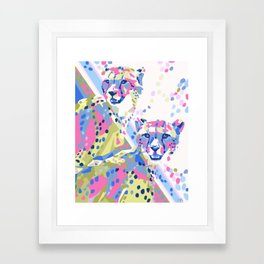 Bright and Colorful Cheetah Duo Framed Art Print