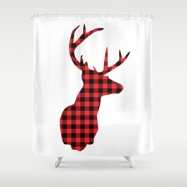 Red and Black Plaid Deer Head Shower Curtain