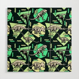 90's Dinosaur Skeleton Neon Pattern Wood Wall Art