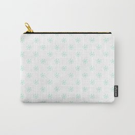 Magic Mint Green on White Snowflakes Carry-All Pouch