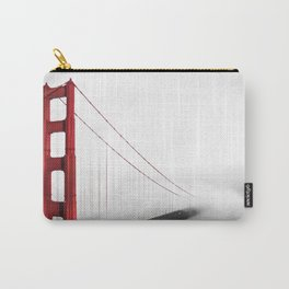 San Francisco Golden Gate Bridge | Red on Black and White Dramatic Foggy Landscape Shot Carry-All Pouch