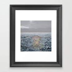 Swimming under the rain Framed Art Print