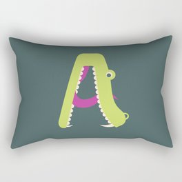 Letter A // Animal Alphabet // Alligator Monogram Rectangular Pillow