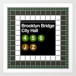 subway brooklyn bridge sign Art Print