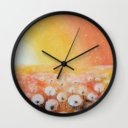 Sunrise and Dandelions, Watercolor Wall Clock