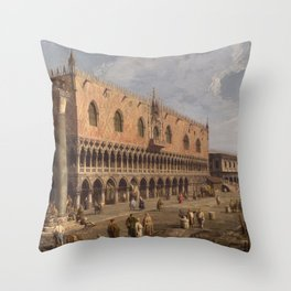 Venice, The Doge's Palace and the Riva degli Schiavoni by Canaletto Throw Pillow