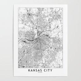 Kansas City White Map Poster
