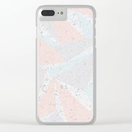 Soft terrazzo pastel with abstract geometric triangles Clear iPhone Case