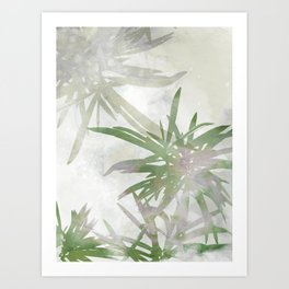 Olive Green Palm Leaves Watercolor Painting Art Print