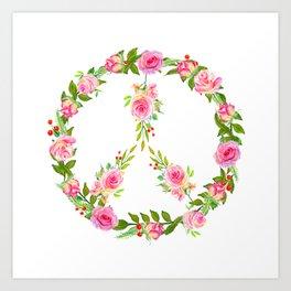 Pink Rose Peace Wreath Art Print