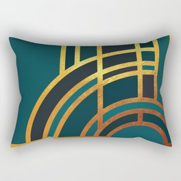 Art Deco Morning Sun In Teal Rectangular Pillow