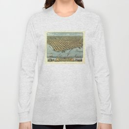 Vintage Pictorial Map of Sandusky OH (1870) Long Sleeve T-shirt